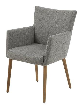 AC Design Furniture 0000055606 Armstuhl Ulrik, 57 x 61 x 87 cm, Sitz, Rucken Stoff, Gestell aus Holz Eiche, Ölbehandelt, hellgrau