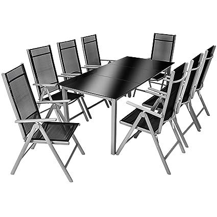 TecTake Aluminium 8+1 salon de jardin ensemble sièges meubles chaise table en verre - diverses couleurs au choix - (Gris argenté   No. 402165)