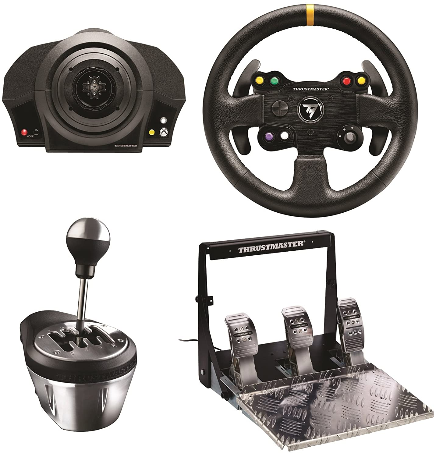 a look at the thrustmaster tx servo base leather steering wheel gearbox shifter and pedal. Black Bedroom Furniture Sets. Home Design Ideas