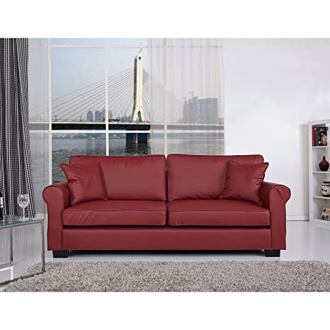 Gold Sparrow Pittsburgh Leather Sofa in Wine Red