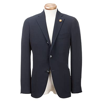 Wool Hopsack Jacket: Navy