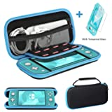 Ztotop for Nintendo Switch Lite Case and Tempered Glass Screen Protector 2019, Portable Travel Carrying Case Slim Protective Hard Shell Storage for Nintendo Switch Lite Games/Accessories, Streak Blue (Color: Streak Blue)