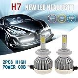 Ehotchpotch 2 Pcs 30W LED Headlight Kit Single Beam H7 COB Lamp Beads 6000K White CREE Bulbs 3000LM Brightness