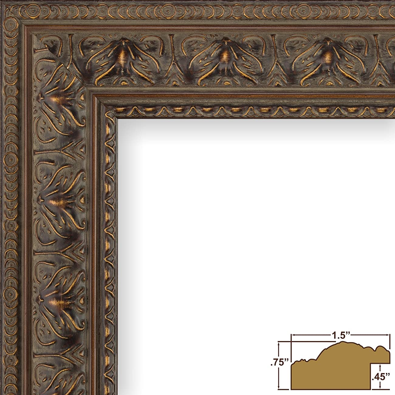 Craig Frames 9535 8 by 12-Inch Picture Frame, Antique Ornate Finish, 1.5-Inch Wide, Aged Mahogany 0