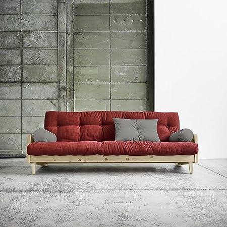 KARUP Kommune–Indie, Sofa Bett bestehend aus Futon rot auf Struktur aus Holz natur