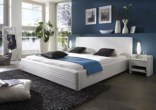 SAM® Polsterbett Notturno in weiß 180 x 200 cm silberfarbene Fuße Kopfteil mit Steppnaht modernes Design Wasserbett geeignet Bett