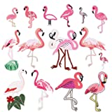 15pcs Flamingo Iron on Patches Embroidered Motif Applique Assorted Size Decoration Sew On Patches Custom Patches for DIY Jeans, Jacket, Kid's Clothing, Bag,Caps, Arts Craft Sew Making (Flamingo 15pcs) (Color: Flamingo 15pcs)