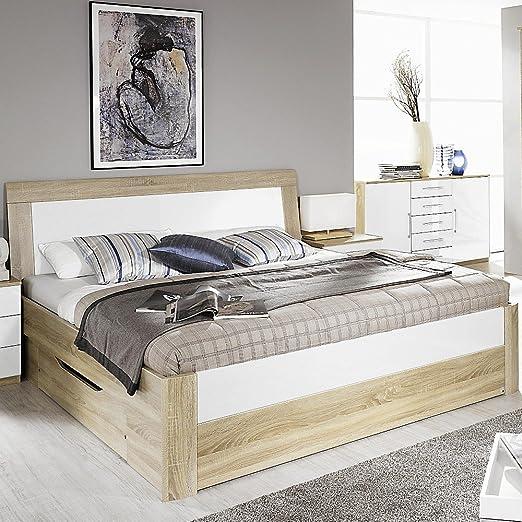 Bett Arona mit Komforthöhe Weiß Hochglanz / Eiche Sonoma 180x200cm