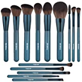 BS-MALL Makeup Brushes Premium Synthetic Foundation Powder Concealers Eye Shadows Silver Black Makeup Brush Sets(14 Pcs, Blue) (Color: Blue)