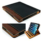 New S-Tech Black and Tan Apple iPad 9.7 5th Generation 2017 Model Soft Leather Wallet Smart Cover with Sleep / Wake Feature Flip Case