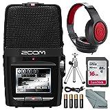 Zoom H2n Handy Digital Recorder along With Samson Studio Headphones and Deluxe Accessory Bundle (Tamaño: Deluxe)