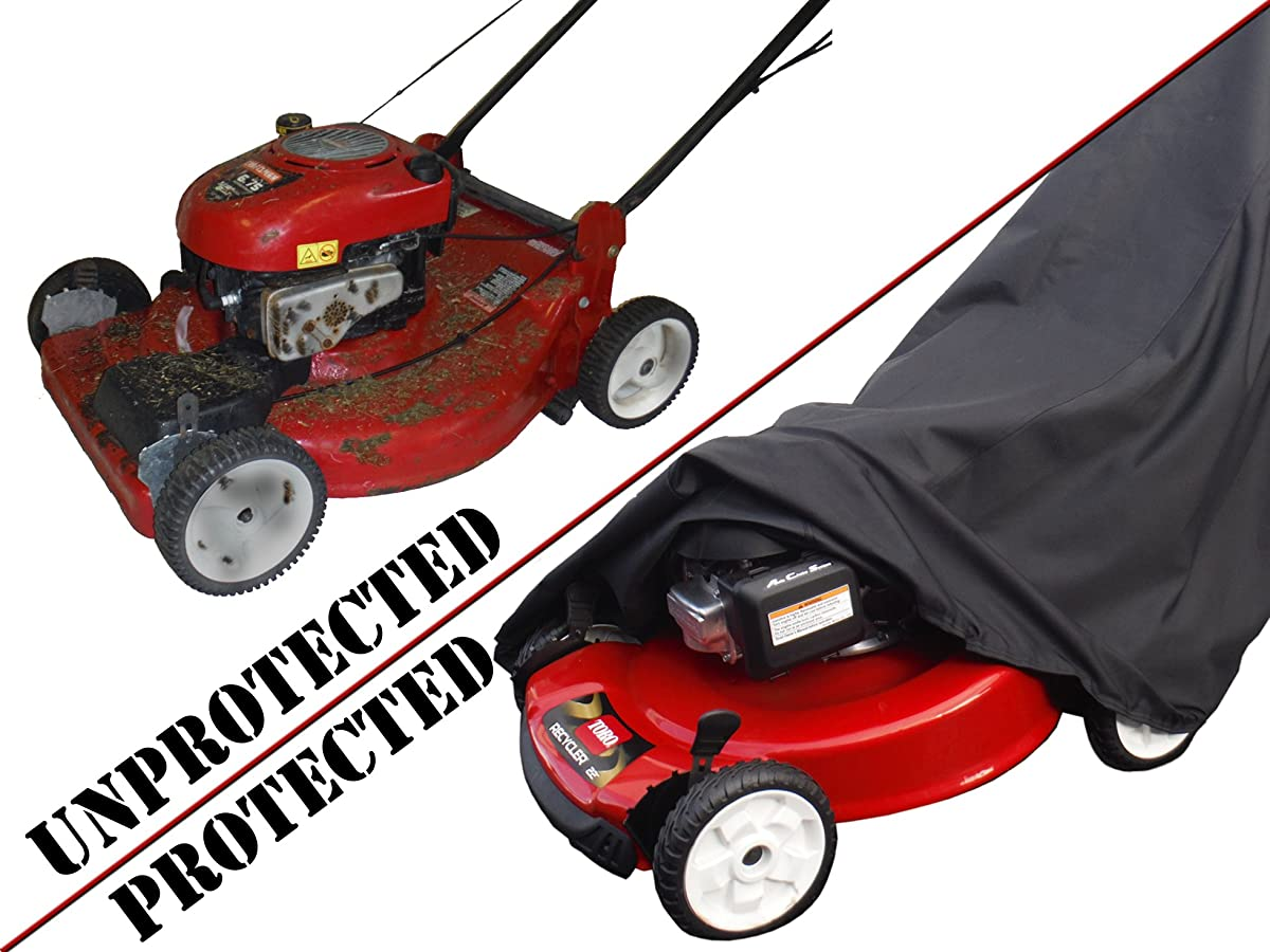 Lawn Mower Cover - Waterproof, Premium Heavy Duty - Manufacturer Guaranteed - Weather and UV Protected Covering for Push Mowers - Secure Draw String and Large Size for Universal Fit
