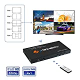 J-Tech Digital HDMI 4x1 1080P Quad Multi-Viewer Seamless Switcher with 5 Different Display Modes and IR Remote Control (JTECH-MV41) (Tamaño: 4X1 Seamless Multi-Viewer w/RS232)