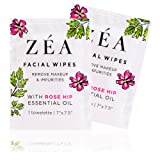 ZEA Makeup Remover Wipes | Infused with Rose Hip Essential Oil | Alcohol-Free & Paraben-Free | 50 Individually Wrapped Wipes (Tamaño: Singles - 50 Count)