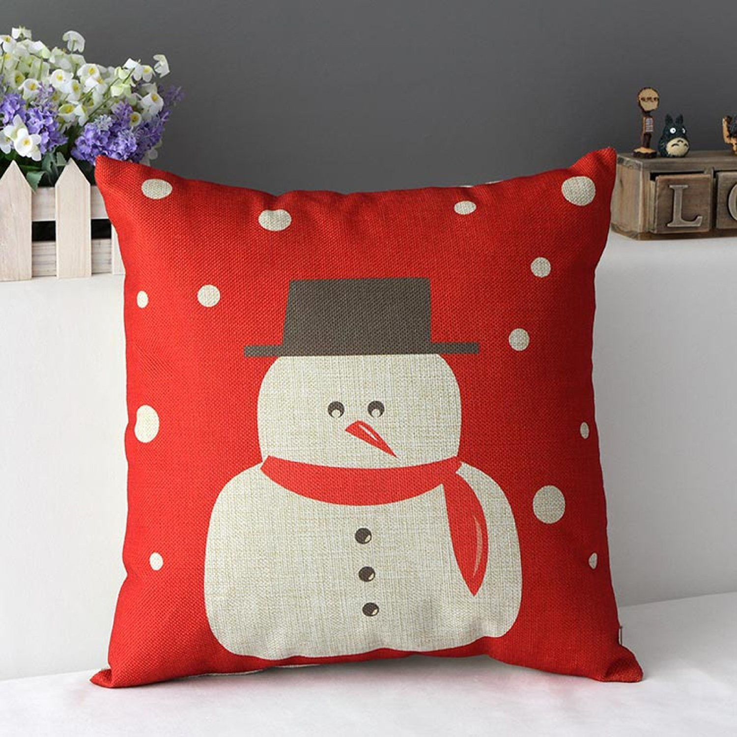 Cotton Linen Pillow Case Cushion Cover Home Decorative Snowman