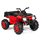 Best Choice Products 12V Kids Powered Large ATV Quad 4-Wheeler Ride-On Car w/ 2 Speeds, Spring Suspension, MP3, Lights, Storage - Red (Color: Red)