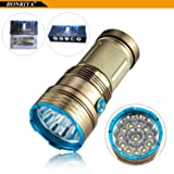 Super Bright Tactical Flashlight,HONRIYA Gold 12000 Lumens Spotlight Searchlight,12xCree XML-T6 Self-Defence Portable Led Flashlight for Indoor and Outdoor(Gold)