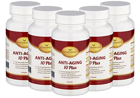 SUPER-SPAR-PACK 5x Anti-Aging 10 Plus - Die ALL IN ONE Kapsel (300): HYALURONSÄURE 106mg (TD) Mikro-Molekular - Inkl. Coenzym Q10, Antioxidantien, Gruntee-Extrakt, Traubenkern-Extrakt, Pomeranzenfrucht-Extrakt, Vitaminkomplex, Mineralstoffe, Fols&aum