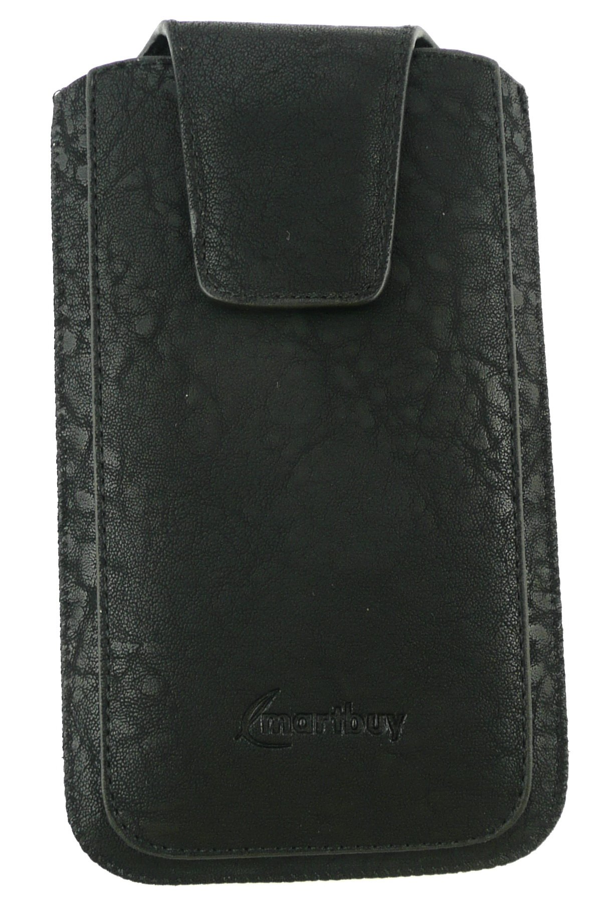 Emartbuy® Black / Blue Plain Premium PU Leather Slide in Pouch Case Cover Sleeve Holder ( Size 3XL ) With Pull Tab Mechanism Suitable For Samsung Galaxy Luna