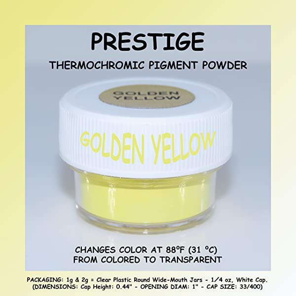 Prestige THERMOCHROMIC Pigment That Changes Color at 88°F (31 °C) from Colored to Transparent (Colored Below The Temperature, Transparent Above) Perfect for Color Changing Slime! (2g, Golden Yellow) (Color: GOLDEN YELLOW, Tamaño: 2g)