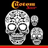 Custom Shop Airbrush Sugar Skull Day of The Dead Stencil Set (Skull Design #10 in 3 Scale Sizes) - Laser Cut Reusable Templates - Auto, Motorcycle Graphic Art (Tamaño: Skull Set #10)