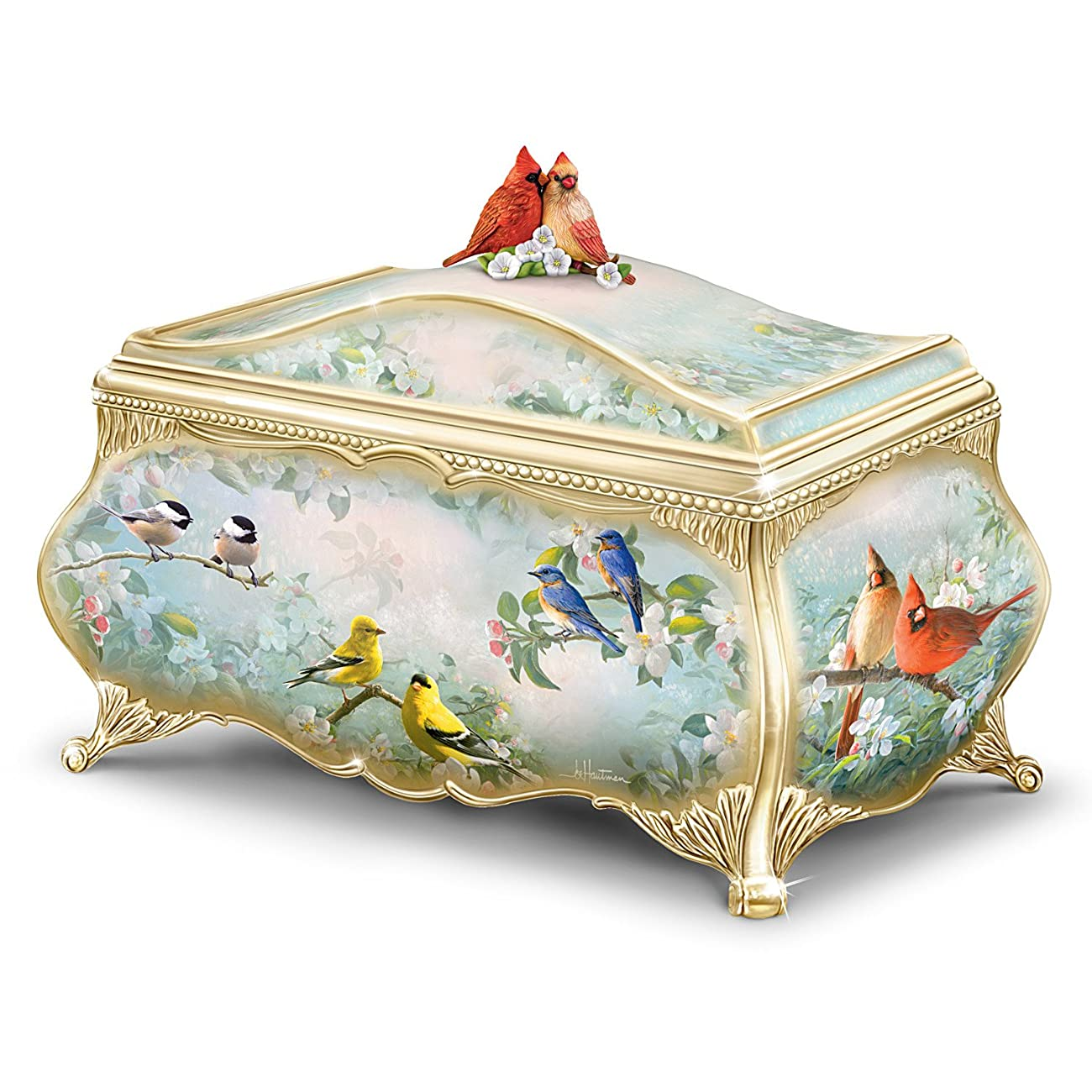 Joe Hautman Songbird Artwork Porcelain Music Box with 22K Gold Sentiment by The Bradford Exchange 0