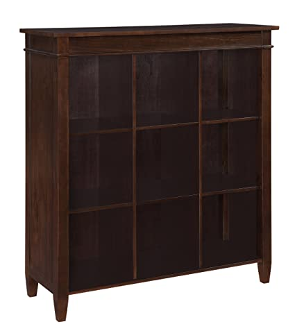 "Simpli Home Carlton 9-Cube Bookcase and Storage Unit, 44""W x 46""H, Dark Tobacco Brown"
