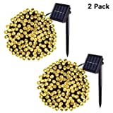 Jiamao 2 Pack Solar String Light 100LED 42.7ft 8 Modes Solar Christmas Lights Waterproof Outdoor Fairy String Lights for Gardens, Homes, Wedding, Party, Curtains, Outdoors (100LED2PACK, Warm White) (Color: Warm White, Tamaño: 100LED*2PACK)