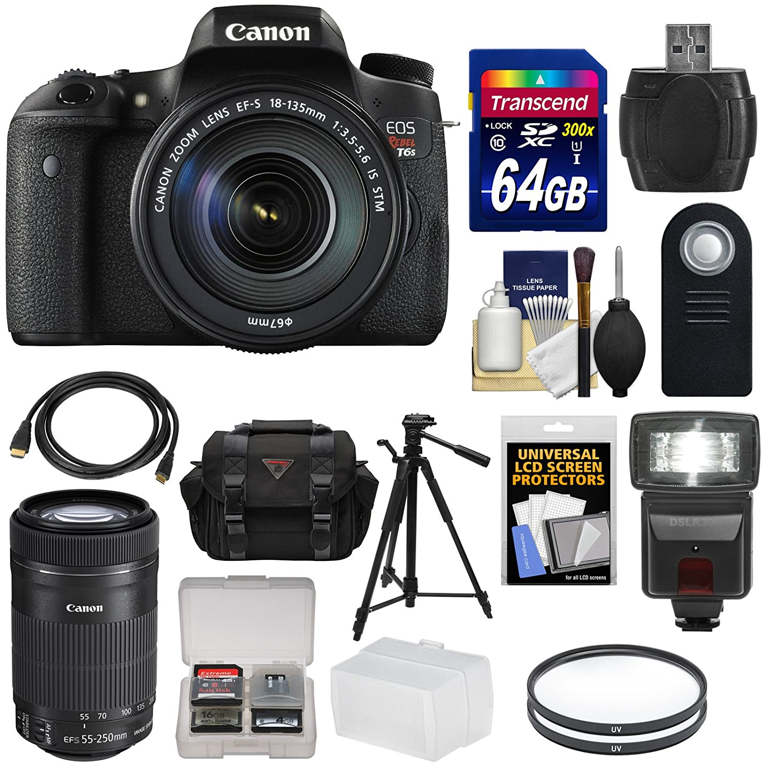 Canon EOS Rebel T6s Wi-Fi Digital SLR Camera & EF-S 18-135mm & 55-250mm IS STM Lens with 64GB Card + Case + Filters + Tripod + Flash + Kit