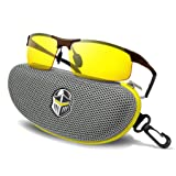 BLUPOND Night Driving Glasses - Anti-glare HD Vision - Yellow Tint Polycarbonate Lens - Safety Sunglasses for Men and Women Plus Car Clip Holder (Brown, Yellow)