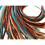 Feather Hair Extensions, 100% Real Rooster Feathers, Long Natural and Turquoise Blue Colors, 20 Feathers with Bonus FREE Beads and Loop Tool Kit NBT (Color: Turquoise Natural Browns)