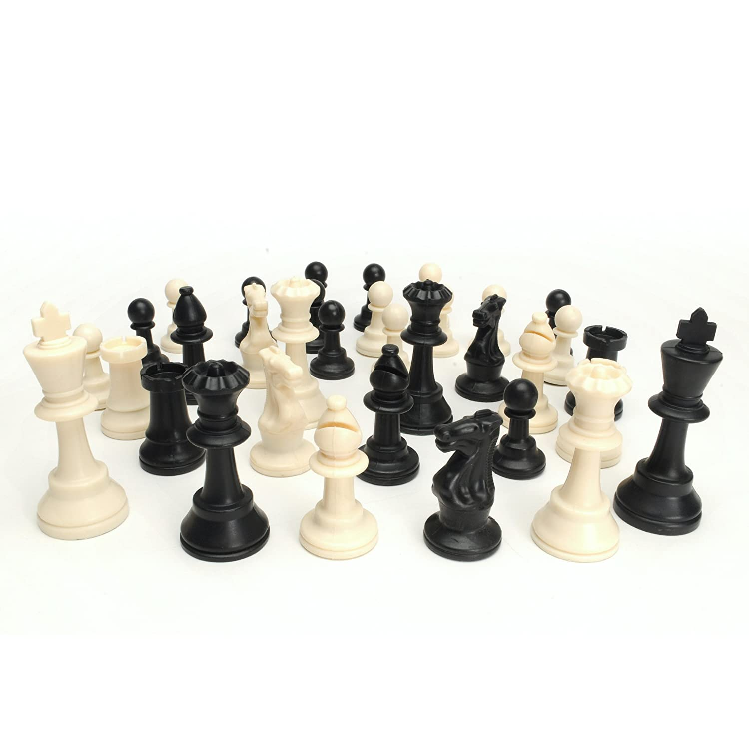 Best value tournament chess set 90 plastic filled chess pieces and green roll ebay - The chessmen chess set ...