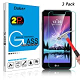 [3 Pack] LG K20 V Screen Protector, LG K20 Plus Screen Protector, Daker [Anti-Scratch] Bubble Free Tempered Glass Screen Protector for LG K10 2017 / Grace LTE /LG LV5 / L59BL / VS501 (Clear 3 Pack)