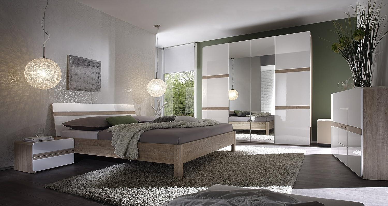 Schlafzimmer mit Bett 180 x 200 cm weiss hochglanz/ Eiche Sonoma jetzt kaufen