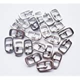 Inner Diameter 6mm DIY Mini bjd Dolls Shoes Buckle Metal Button Three Lines Doll DIY Clothes Buckle pin Buckle Mini Bag Buckle 20 pcs/lot (Silver) (Color: silver)