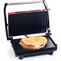 Chef Buddy Panini Press Indoor Grill and Gourmet Sandwich Maker with Nonstick Plates (Red)