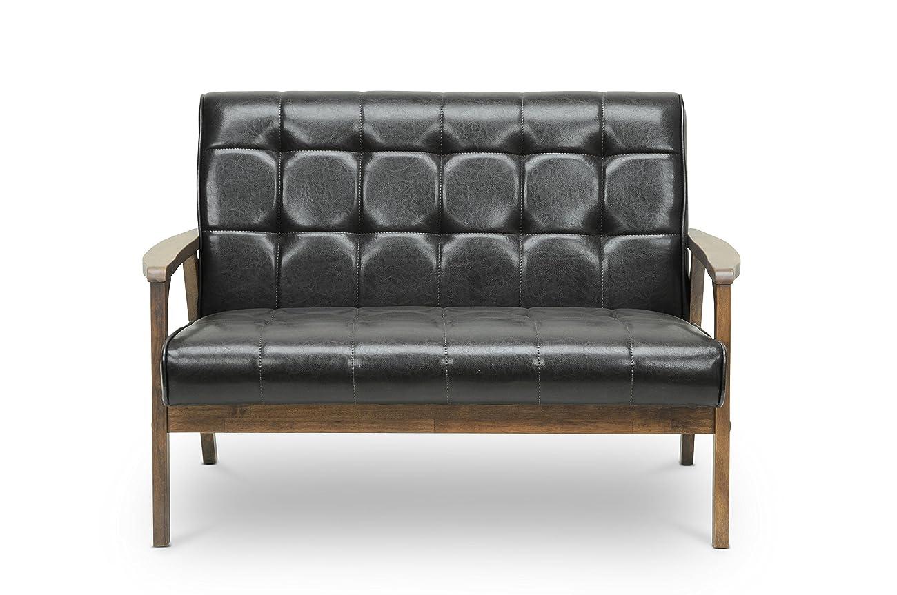 Baxton Studio Mid-Century Masterpieces Love Seat, Brown 1