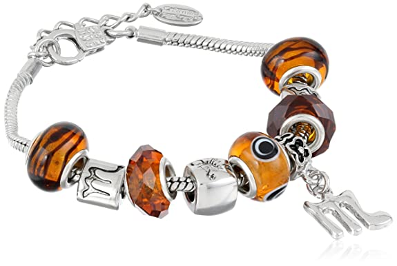 Scorpio Murano Style Glass Beads and Charm Bracelet