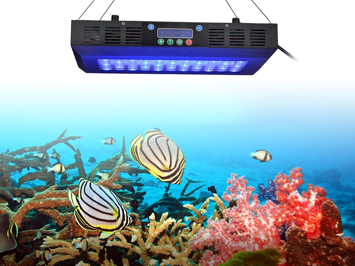 TaoTronics® TT-AL16 Dimmable Timmer Led Aquarium Light Coral Reef Tank Light with Moonlights,120W Dimmable with Inner Digital Timer, Optical lens in High Par Value (Dimmable and Timmer)