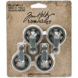 Tim Holtz Mini Pulley Wheels Idea-Ology, Antique Nickel Finish, Approximately 1 x 1.5 Inches, 4 Wheels, (TH93580)