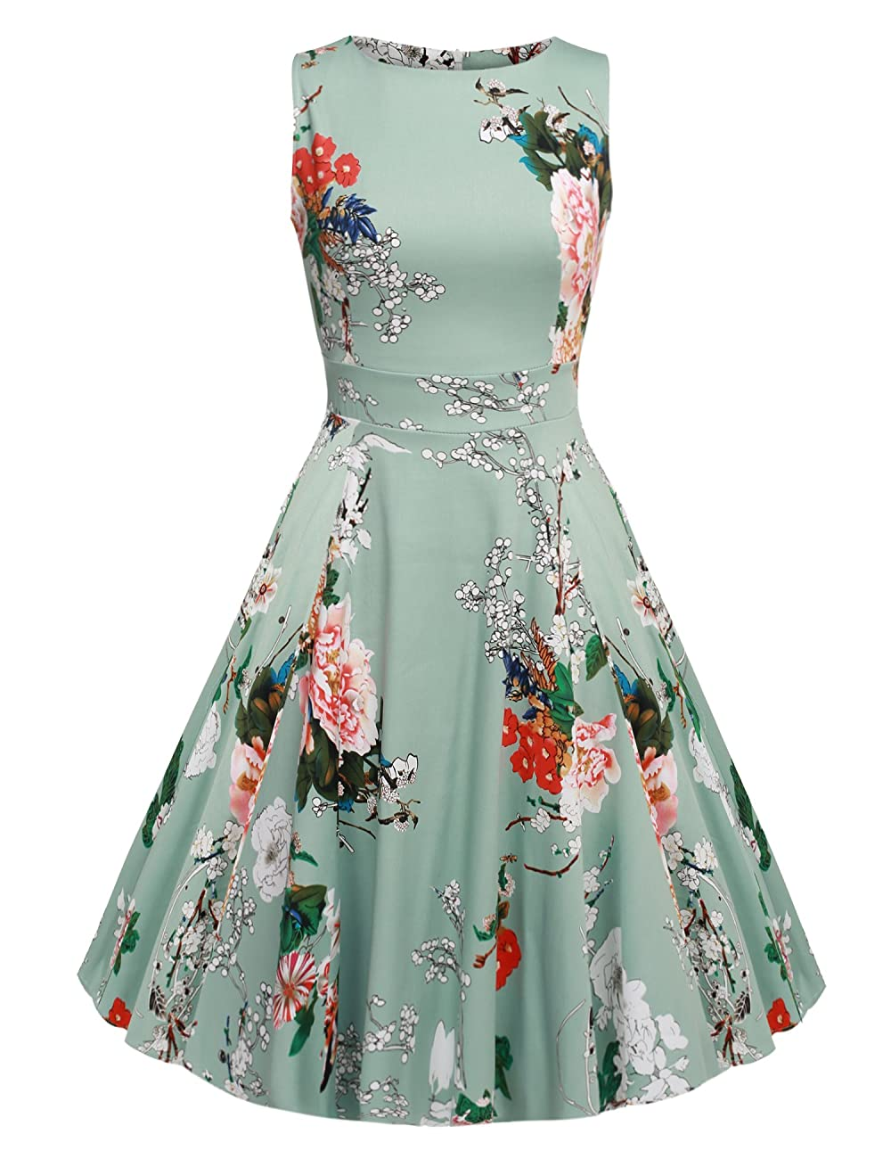 ACEVOG Vintage 1950's Floral Spring Garden Party Picnic Dress Party Cocktail Dress 0