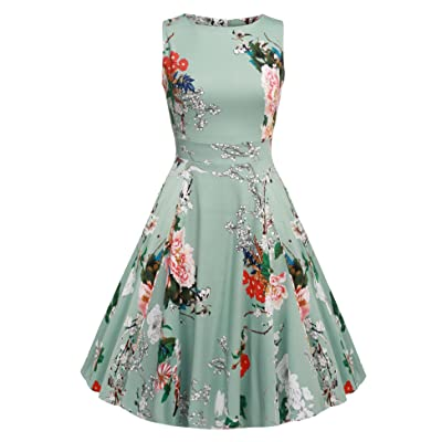 ACEVOG Vintage 1950s Floral Spring Garden Party Picnic Dress Party Cocktail Dress