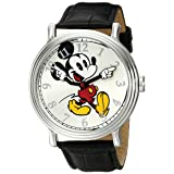 Disney Men's W001868 Mickey Mouse Silver-Tone Watch with Black Band (Color: Black)