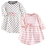 Touched by Nature Baby Girls' Organic Cotton Dress, 2 Pack, Pink Scribble Long Sleeve, 18-24 Months (24M)