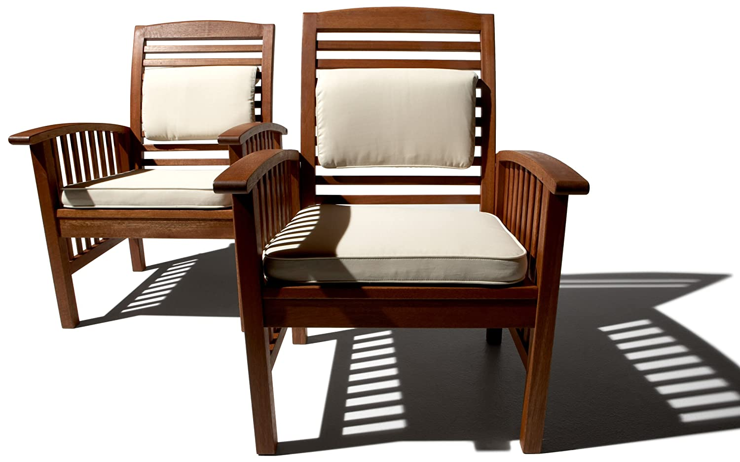 Strathwood Gibranta All-Weather Hardwood Arm Chair, Set of 2