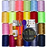 Sewing kit 24 Assorted Color 100% Polyester All Purpose Sewing Thread 1000m Each Spool with 30pcs Sewing Needles,Soft Measuring Tapes, Scissor,Thimble, Threader&Buttons for Hand and Machine Sewing (Color: 24Rolls)
