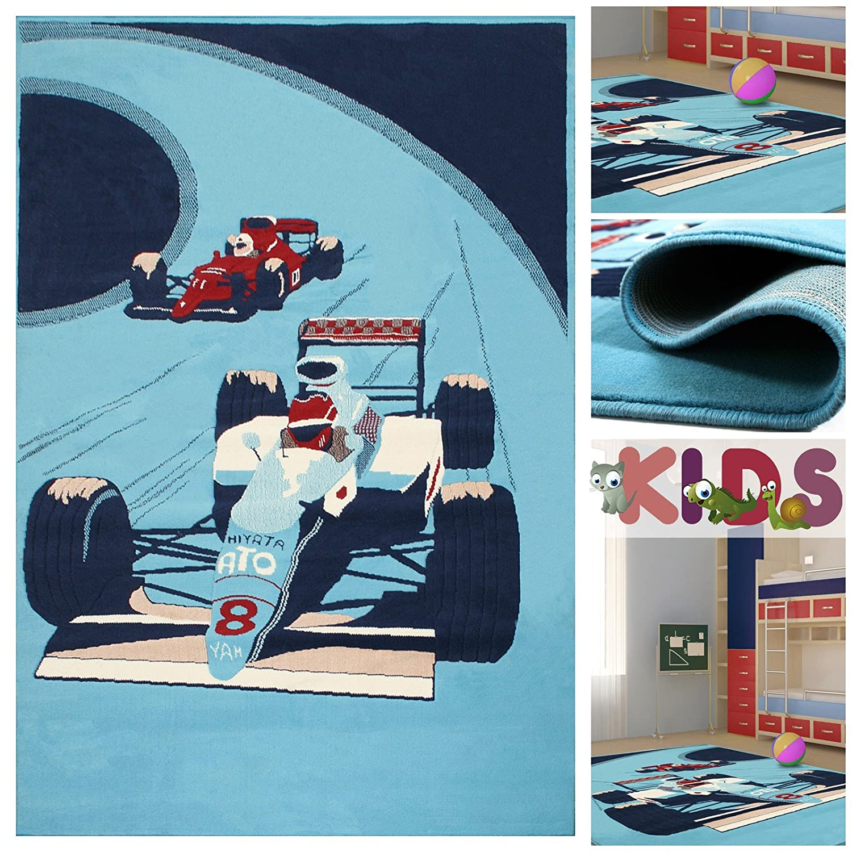 Kinderteppich Spielteppich mit Coolen Rennwagen in Hellblau | Teppich mit Auto Motiv für Jungen | Kids Teppiche für Jungs fürs Kinderzimmer Jungenzimmer & Spielzimmer, Farbe:Blau;Größe:120x170 cm