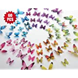 Eoorau 60PCS Butterfly Wall Decals for Wall-3D Butterflies Wall Decor Removable Mural Stickers Home Decoration Kids Room Bedroom Decor