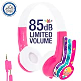Kids Headphones by onanoff | Explore Series I Volume Limiting | Durable, Comfortable & Customizable | Built in Headphone Splitter & In Line Mic | Great for School| For iPad, Fire, & All Tablets | Pink