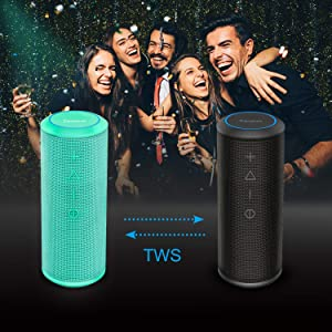 Bluetooth Speaker, Zamkol Bluetooth Speakers Portable Wireless, 360 Degree Sound and 24W Enhanced X-Bass, Dual Pairing Loud Wireless Speaker, IPX6 Waterproof for Beach, Shower, Travel, Party-Teal (Color: Teal, Tamaño: Teal)